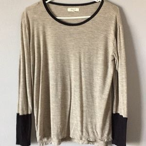 Madewell Long Sleeve Color Block Beige Black Small